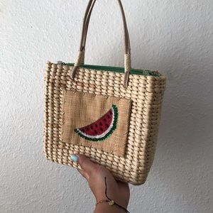 VINTAGE Y2K Straw Woven Watermelon Mini Picnic Bag